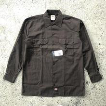 DICKIES Long Sleeve Work Shirt - Dark  Brown