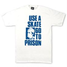 THRASHER MAGAZINE Use A Skate Go To Prison T-Shirt -White/Blue