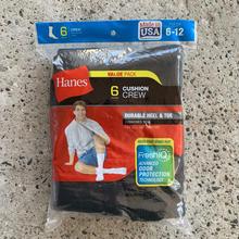 HANES CREW SOCKS 6-Pack - Black