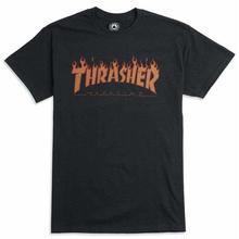 THRASHER FLAME HALF TONE Tee-BLACK