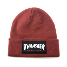 THRASHER LOGO PATCH BEANIE - RED