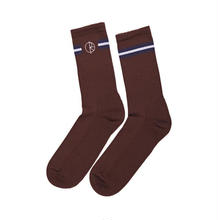 POLAR SKATE CO STROKE LOGO SOCKS - BROWN