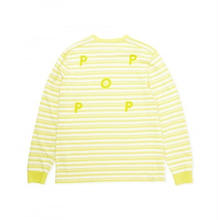POP TRADING BLAINE STRIPED LONGSLEEVE T-SHIRT OFFWHITE/ELECTRIC YELLOW