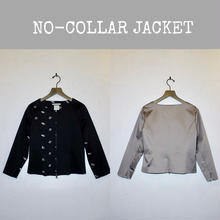 STRETCH COTTON NO-COLLAR JACKET