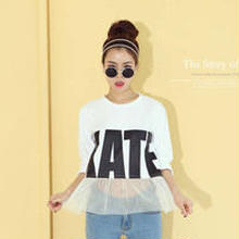 【tシャツ レディース】tシャツ 五分袖/tシャツ レース/tシャツ ロゴ/カットソー レディース/tシャツ 白/フリーサイズ 送料無料