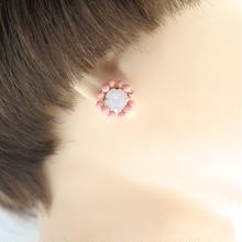 スワロフスキー ビジュー ピアス coral pink ver