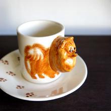 ★ 3D立体 アニマル カップ&ソーサー / Pomeranian (ポメラニアン) ★