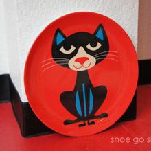 北欧雑貨 メラミンプレート 「 Cat  (ネコ)」