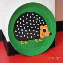 北欧雑貨 メラミンプレート 「 Hedgehog  (ハリネズミ)」