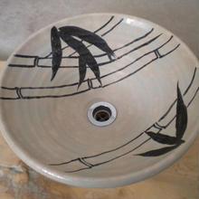 白萩竹絵手洗い鉢