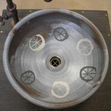 鼠志野毛毬文様手洗い鉢