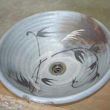 鼠志野草文(大)手洗い鉢