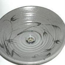 絵唐津草文(大)手洗い鉢