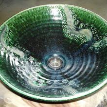 織部桜彫刻(大)手洗い鉢