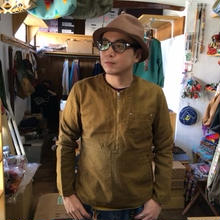 【SALE】 Nasngwam. 『HIDE ZIP SHIRTS natural&antique gold』
