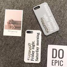 [NW425]  ★ iPhone 6 / 6s / 6Plus / 6sPlus / 7 / 7Plus / 8 / 8Plus ★ シェルカバー 英語 メッセージ ロゴ ハンド チェーン