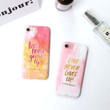 [NW180] ★ iPhone 6 / 6s / 6Plus / 6sPlus / 7 / 7Plus ★ シェルカバー ケース 水彩 ピンク メッセージ 英語