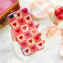 [MD271] ★ iPhone 6 / 6s / 6Plus / 6sPlus / 7 / 7Plus / 8 / 8Plus / X ★ シェルカバー ケース ハート 格子柄 可愛い キュート