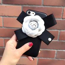 [NW151] ★ iPhone 6 / 6Plus / 7 / 7Plus ★シェルカバー ケース 花 リボン モノトーン フォーマルブラック ホワイト iPhone ケース