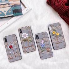 [MD298] ★ iPhone 6 / 6s /6Plus / 6sPlus / 7 / 7Plus / 8 / 8Plus / X ★ シェルカバー ケース 花 刺繍 グレンチェック オトナ