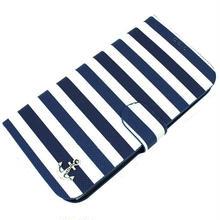 [YS048] iPhone5 /5s ケース マリン ストライプ 手帳 タイプ スマホ カバー モバイル カード さわやか 夏 アンカー 海 白 青 ホワイト ブルー