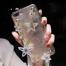 [MD382] ★ iPhone 6 / 6s / 6Plus / 6sPlus / 7 / 7Plus / 8 / 8Plus / X ★ シェルカバー ケース 星 ゴールド チェーン キラキラ