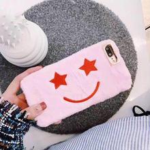[MD153] ★ iPhone 6 / 6s / 6Plus / 6sPlus / 7 / 7Plus / 8 / 8Plus / X ★ シェルカバー ケース スマイル 星 ふわもこ ピンク