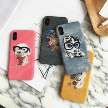 [NW434] ★ iPhone 6 / 6s / 6Plus / 6sPlus / 7 / 7Plus / 8 / 8Plus / X ★ シェルカバー ケース 犬 キャンバス 刺繍 ワンちゃん