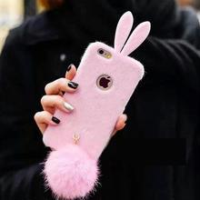 【EU012】 ★ iPhone6/6plus ★ ウサギ型ケース 耳&しっぽ付 (ピンク / ピンク+ホワイト / ブラック / ホワイト+ピンク / マゼンダ )うさぎ 耳 かわいい キャラクター