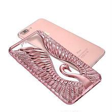 [NW284]★ iPhone 6 / 6s / 6Plus / 6sPlus / 7 / 7Plus ★ シェルカバー ケース スワン 白鳥 モチーフ メタル バンパー クリア