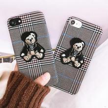 [NW466] ★ iPhone 6 / 6s / 6Plus / 6sPlus / 7 / 7Plus / 8 / 8Plus ★ シェルカバー ケース くま ベア グレンチェック 刺繍
