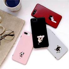 [MD324] ★ iPhone 6 / 6s / 6Plus / 6sPlus / 7 / 7Plus / 8 / 8Plus / X ★ シェルカバー ケース 犬 ネコ チラ見え リアル
