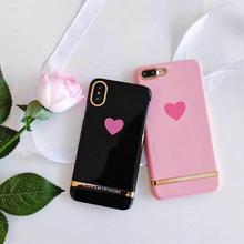 [MD374] ★ iPhone 6 / 6s / 6Plus / 6sPlus / 7 / 7Plus / 8 / 8Plus / X ★ シェルカバー ケース ハート ゴールド 英字 可愛い