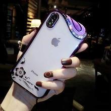 [MD389] ★ iPhone 6 / 6s / 6Plus / 6sPlus / 7 / 7Plus / 8 / 8Plus / X ★ シェルカバー ケース パープル クリア ビジュー