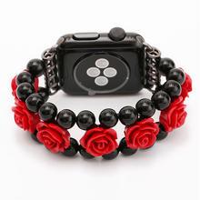 [NW508] ★Apple Watch belt 38mm/42mm ★ レッド ローズ バラ ブレスレット アップルウォッチ 替えベルト バンド ガーリー 女の子