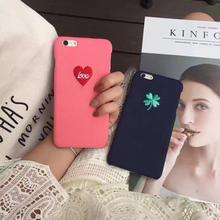 [NW295]★ iPhone 6 / 6s / 6Plus / 6sPlus / 7 / 7Plus ★ シェルカバー ケース クローバー ハート 刺繍 かわいい ガーリー