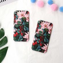 [NW282]  ★ iPhone 6 / 6s / 6Plus / 6sPlus / 7 / 7Plus ★ シェルカバー ボタニカル チェリー さくらんぼ フラワー 花