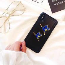 [MD253] ★ iPhone 6 / 6s / 6Plus / 6sPlus / 7 / 7Plus / 8 / 8Plus / X ★ シェルカバー ケース 鶴 刺繍 ブルー 和風