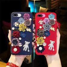 [MD125] ★ iPhone 6 / 6s / 6Plus / 6sPlus / 7 / 7Plus / 8 / 8Plus / X ★ シェルカバー  キラキラ フラワー ハンドメイド風 派手