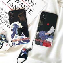 [MD254] ★ iPhone 6 / 6s / 6Plus / 6sPlus / 7 / 7Plus / 8 / 8Plus / X ★ シェルカバー ケース 日本画風 ストラップ 犬 和風