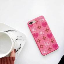[MD289] ★ iPhone 6 / 6s /6Plus / 6sPlus / 7 / 7Plus / 8 / 8Plus / X ★ シェルカバー ケース ハート アーガイル ピンク