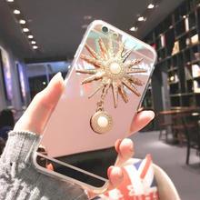 [NW171]  ★ Phone SE / 5 / 5s / 6 / 6s / 6Plus / 6sPlus / 7 / 7Plus ★ シェルカバー ケース 太陽 チャーム 付 ミラー 鏡面