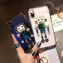 [MD432] ★ iPhone 6 / 6s / 6Plus / 6sPlus / 7 / 7Plus / 8 / 8Plus / X ★ シェルカバー ケース ロボット ビジュー クリア