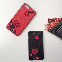 [NW152]★ iPhone 6 / 6s / 6Plus / 6sPlus / 7 / 7Plus ★ シェルカバー ケース バラ 刺繍 ワッペン ローズ 大人 iPhone ケース