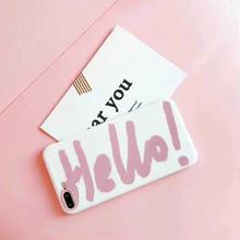 [MD333] ★ iPhone 6 / 6s / 6Plus / 6sPlus / 7 / 7Plus / 8 / 8Plus / X ★ シェルカバー ケース Hello ホワイト ピンク ロゴ