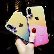 [MD385] ★ iPhone 6 / 6s / 6Plus / 6sPlus / 7 / 7Plus / 8 / 8Plus / X ★ シェルカバー ケース グラデーション クリア ビジュー