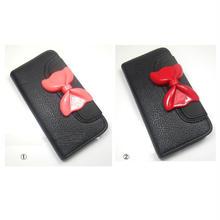 [YS035] iPhone5 /5s ケース ビッグ リボン フラップ ウォレット ケース ( ピンク / レッド )