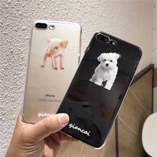 [MD323] ★ iPhone 6 / 6s /6Plus / 6sPlus / 7 / 7Plus / 8 / 9Plus / X ★ シェルカバー ケース 子犬 子豚 クリア アニマル