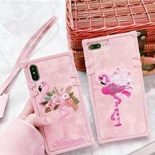 [MD273] ★ iPhone 6 / 6s / 6Plus / 6sPlus / 7 / 7Plus / 8 / 8Plus / X ★ シェルカバー ケース フラミンゴ 刺繍 フラワー 可愛い