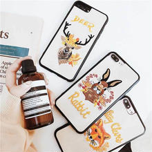 [MD078]  ★ iPhone 6 / 6s / 6Plus / 6sPlus / 7 / 7Plus / 8 / 8Plus / X ★ シェルカバー ケース アニマル 刺繍 ナチュラル 可愛い